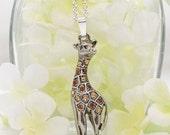 Crystal Giraffe Pendant - Nigel the Giraffe Necklace - Giraffe Jewelry - Crystal Giraffe