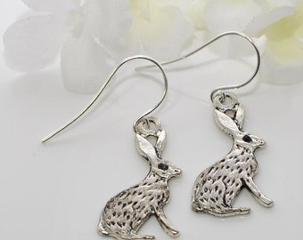 Silver Jackrabbit Earrings Jack and Jill - Bunny Earrings - Rabbit Inspired - Bunny Rabbit Jewelry - Rabbit Earrings - Bunny Jewelry - Pet