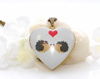 Hedgehog Locket Necklace Spiky Love - Hedgehog Pendant - Hedgehog Jewelry - Hedgehog Necklace