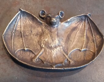 Art Nouveau Bat Ring Dish, Brass, Molded Cast and Finished by Hand.