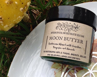 RESTOCKED  -MOON BUTTER - Carnelian Infused Lunar Support Balm with Avocado Butter, Frankincense, Carnelian and More