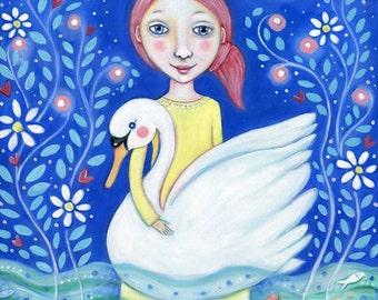 Girl and Swan Wall Art Print Swimming Swan Art Wall Decor Girls Room Art Gift for Girl White Swan Wall Decor Childrens Wall Art Grace Women