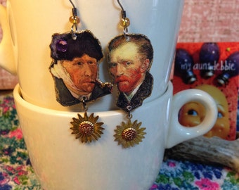 Vincent Van Gogh Earrings self portrait sunflowers starry starry night Dutch post-Impressionist painter