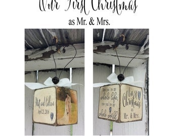 Our First Christmas Ornament | Wedding Ornament | Just Married Ornament | Personalized Photo Ornament | Newlywed Ornaments | Mr and Mrs