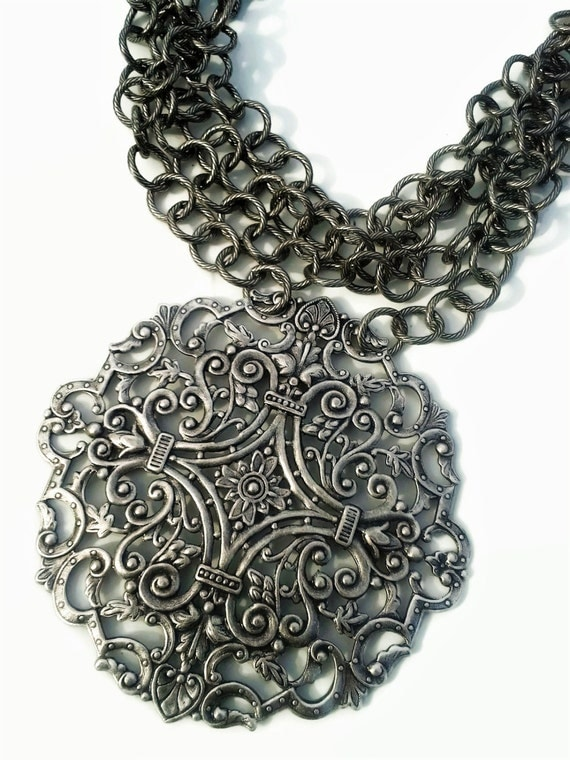 Silver Large Pendant Necklace - Metal Plate Necklace - Multi Strand Statement Necklace  - Multi Chain Bib Necklace - Bohemian Jewelry