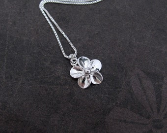 Hawaiian Plumeria Flower Necklace, Sterling Silver Necklace, Frangipani Flower, Sterling Chain, Petite Dainty Pendant, Flower Charm, Hawaii
