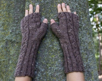 Taupe Brown Vegan Fingerless Gloves Knit Arm Warmers - Texting Driving Cycling - Wrist Warmers - Winter Mittens - Womens Gift - Gift for Her