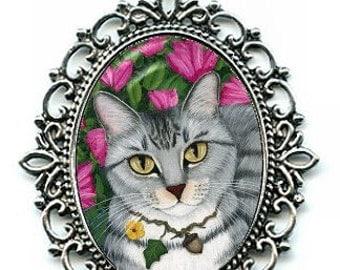 Gray Tabby Cat Necklace Silver Tabby Cat Azalea Garden Cat Cameo Pendant 40x30mm Gift for Cat Lovers Jewelry