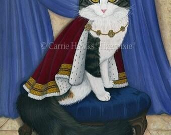 King Cat Art Prince Anakin The Two Legged Cat Painting Royal Cat Portrait Regal Fantasy Cat Art Print 8x10 Cat Lovers Art