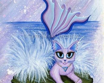 Cat Painting Mermaid Cat Art Elemental Water Cat Mercat Elements Ocean Sea Fantasy Cat Art Print 5x7 Cat Lovers Art