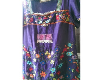 Frida Kahlo Dress, Peasant Dress, Vintage Doily, Purple, Flowers, Tunic, Embroidered, Boho, Folk, Rustic