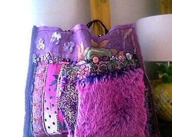 Jacaranda Bag, Purple, Pink, Shoulder Bag, Large Bag, Leather, Vintage Textiles, Embroidery, Fur, Pockets, Boho Bag