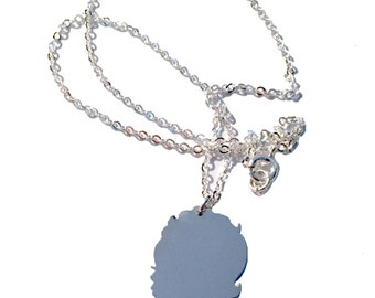 Mother's Day Argentium Silver Personalized Custom Child Profile Silhouette Necklace