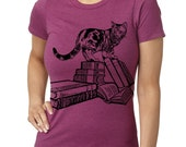 Women's Cat Shirt Screen Printed Ladies Cats Clothing Kitten Shirts Puss and Books Gifts for Book lovers gifts under 20 Feline tops