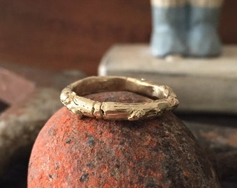 Rustic ring twig ring twig Band 14k gold branch wedding band - size 6
