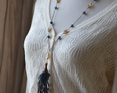 Vintage Sari Silk Tassel Necklace Hand-painted Brass Filigree Czech Glass Necklace