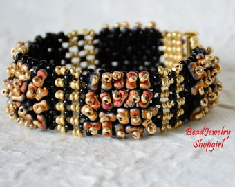 Forever Etched In Black Fire - beadwoven bracelet and earrings in black, yellow gold and black fire!