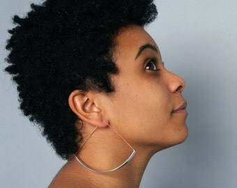 NEW Sekai Earrings - statement hoops modern minimal big large triangle mixed metals copper silver tube