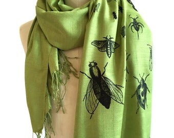 Insect Scarf. Bug print pashmina, linen weave. Black silkscreen print on margarita green scarf & more. Entomologist, natural history gift.