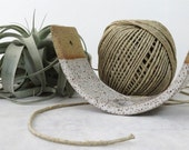 Hanging Air Plant Cradle (tm) Planter Vase - Speckled  Buff Stoneware with Gloss White Glaze