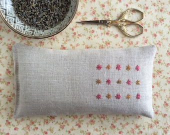 Multicolor Embroidered Linen Lavender Eye Pillow