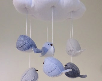 Bird mobile - nursery decor in blue and grey, baby boy nursery