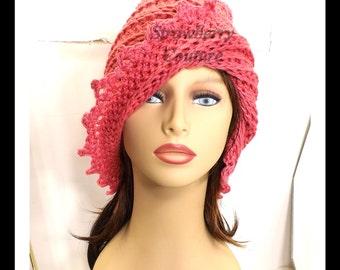 Rosy Pink Crochet Hat Womens Hat, Summer Hat for Women, Crochet Beanie Hat, Rosy Pink Hat, Cotton Hat, LAUREN