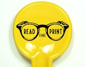 """spoon rest with """"Read Fine Print"""" instruction, shown in Lemon Butter - Made to Order / Pick Your Colour"""