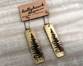 Antique Brass Earrings with Hand Printed Pine Tree Rectangles