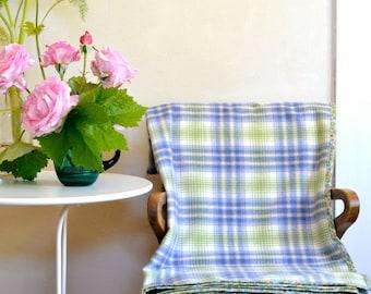 Merino Wool Blanket Throw Washable Wool in Blue & Green Plaid w/ Floral Cotton Binding