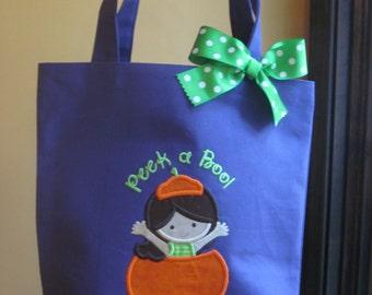 TOTE BAG Pumpkin Girl Personalized Toddler or Big Kid Tote