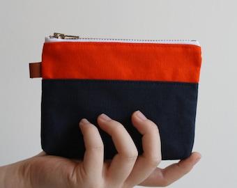 small zipper pouch - pumpkin + midnight blue