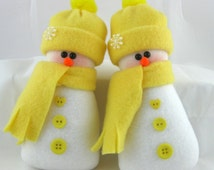 Snowman Ornaments, Set of 2, Flurrie Frizzle, Christmas Decoration, Handmade, Stuffed Snowman, Snowmaan Ornaments In Yellow Fleece