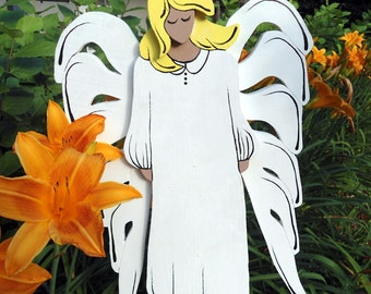 Guardian Angel,large wood,angel,white,hand-painted,handcrafted,garden, grave decor,spiritual,caring,large garden angel,spiritual item,lovely