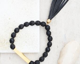 Black Beaded Bar Bracelet, Black bracelet, Stretchy Bracelet