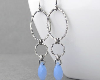Long Earrings for Women Silver Drop Earrings Blue Crystal Earrings Geometric Jewelry Gift for Her - Adorned Aubrey
