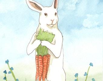 Original Art - Carrots - Watercolor Rabbit Painting