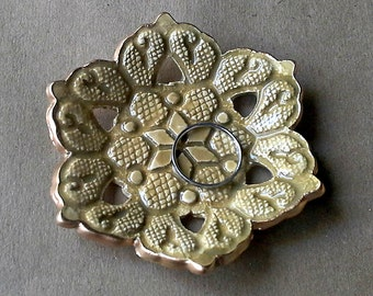 Ceramic Carved lace Ring Bowl Dijon Yellow edged in gold