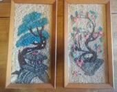 Vintage Gravel Art Bonsai Tree Japanese Lantern Mosette