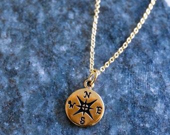 north left - golden compass pendant. 14K goldfill dainty necklace. bronze pendant direction
