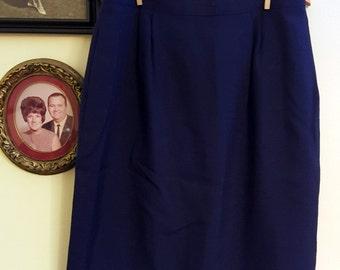 Vintage Navy Blue Pleated Skirt XL