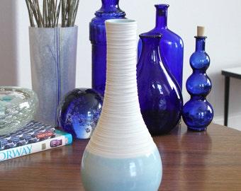Blue Pottery Vase - Groove Vase in Cerulean Blue - Blue Ceramic Bottle Vase - Handmade Pottery - Handmade Modern Vase