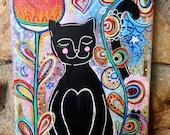 Black Cat tulipe rouge / acrylique et techniques mixtes