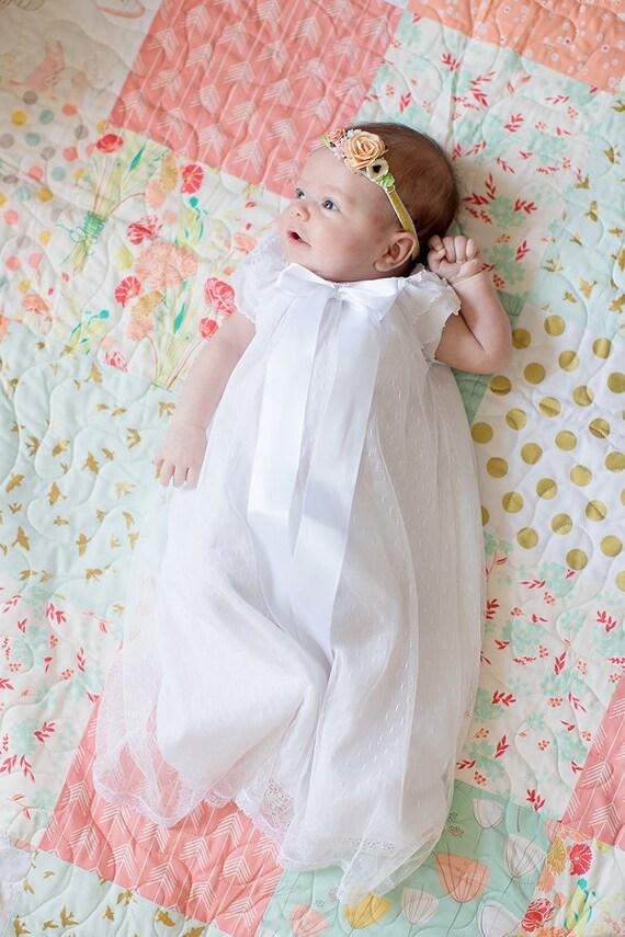 White baby girl dress blessing baptims christening portrait