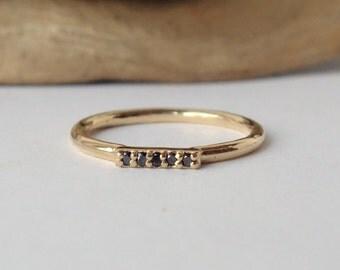 Black Diamond Bar Ring