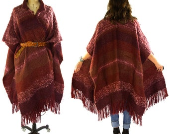 SALE 70s Handwoven Mohair Poncho / Vintage 1970s Fringed Soft Wool Wrap / Ethnic Folk Hippie Boho Bohemian Artsy Art to Wear