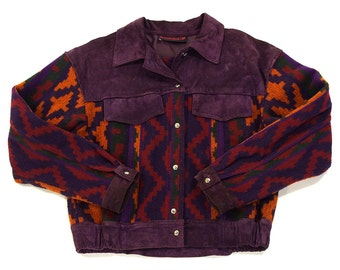70s Southwestern Blanket Jacket / Vintage 1970s Purple Suede & Navajo Inspired Knit Coat / Hippie Boho Ethnic Folk Western Sweater /