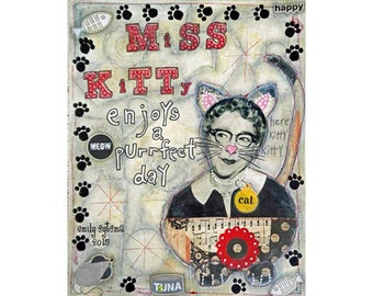 "Original ART Mixed Media Collage Painting Miss Kitty Cat Woman 11"" x 14"" on Canvas Board"