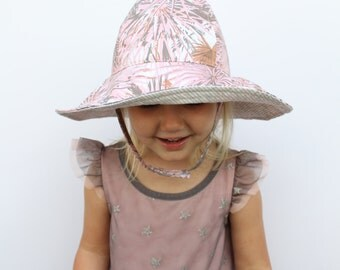 Baby Wide Brim Floppy Sun Hat Tropical Pink