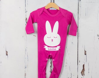 Personalised Babygrow with Bunny Tail - new baby gift, baby onesie, easter gift, easter kids